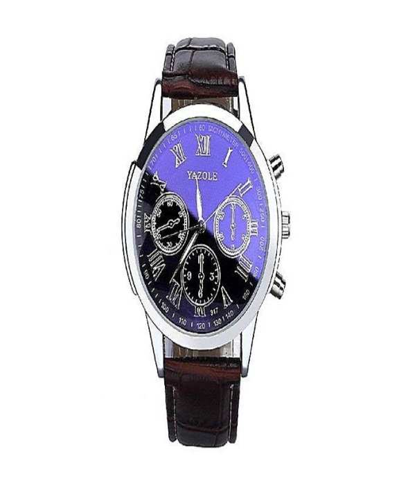 Stainless Steel Chronograph Wrist Watch for Men - Blue & Brown