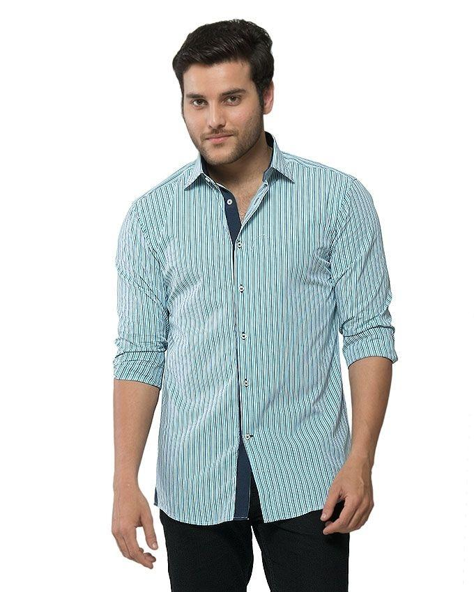 ACLIPSE - Turquoise & Royal Blue Cotton Striped Shirt for Men
