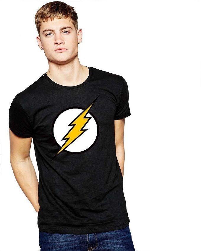 Black Cotton Flash Logo T-Shirt For Men
