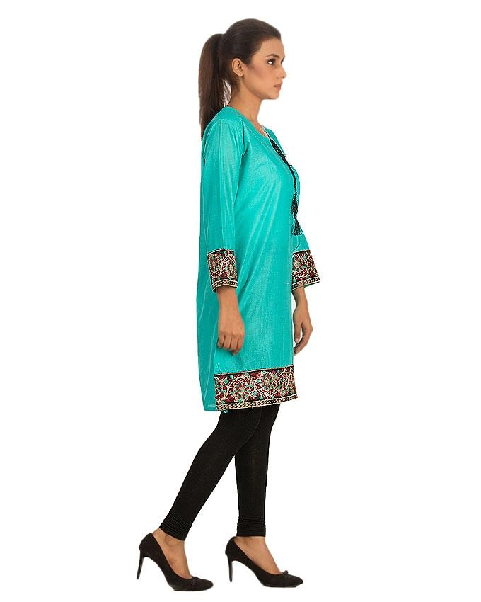 Linen Embroidered Kurti for Women - Turquoise