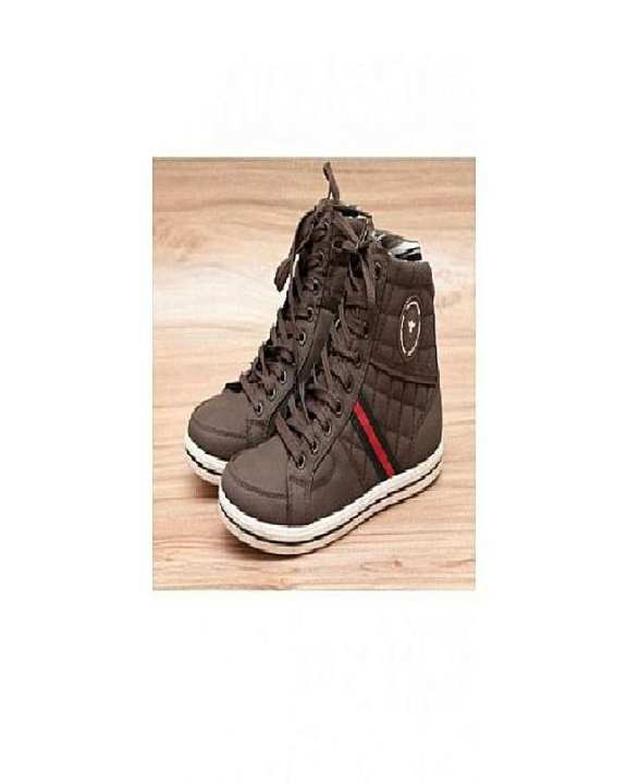 Dark Brown Stitched Design Casual Shoes For Men