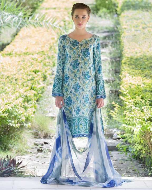 Moss Sana & Samia Egyptian Cotton Satin Collection - 3 Pc Suit