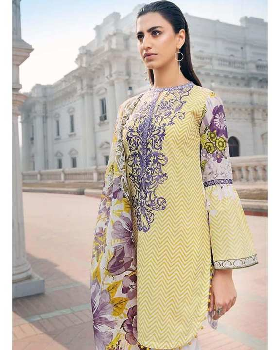 Yellow 2Pcs Printed (D/S) with Embroidered Front/Lace-Unstitched