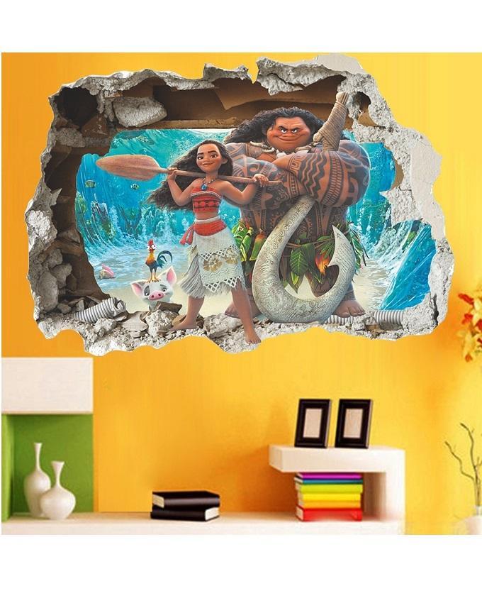 Cartoon Movie Moana Maui Vaiana Wall Sticker For Kids Room