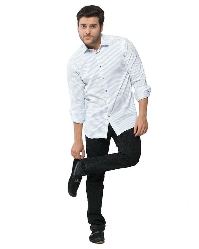 ACLIPSE - White Cotton Striped Shirt for Men - FS16044