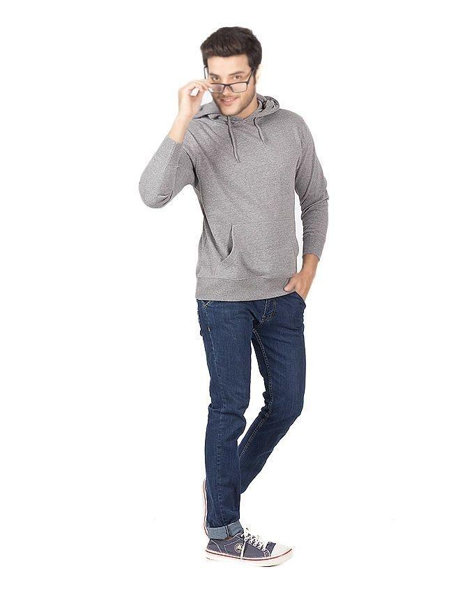 Heather Grey CVC Pullover Hoodie For Men