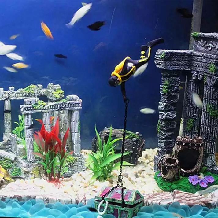 Diver Hunter Treasure Chest Decor Aquarium Decoration Underwater Landscape Ornaments