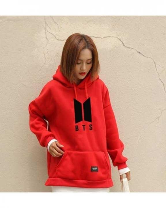 Red Fleece Bts Hoodies For Unisex