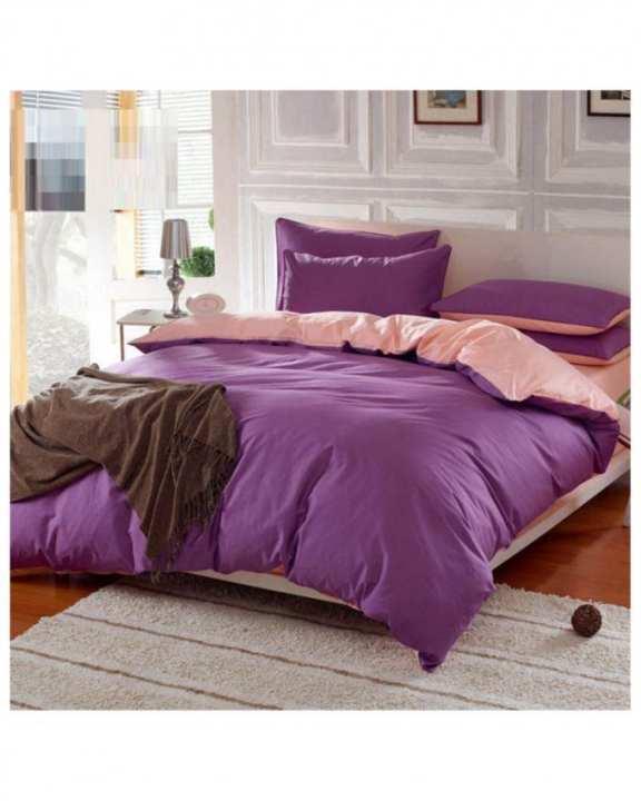 Purple & Light Pink Cotton Bed Set