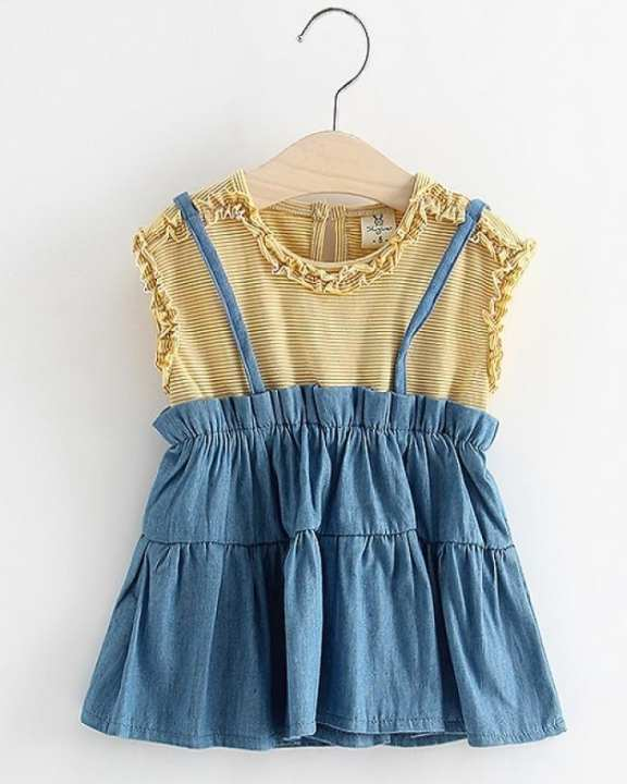 Yellow Denim Frock For Girls