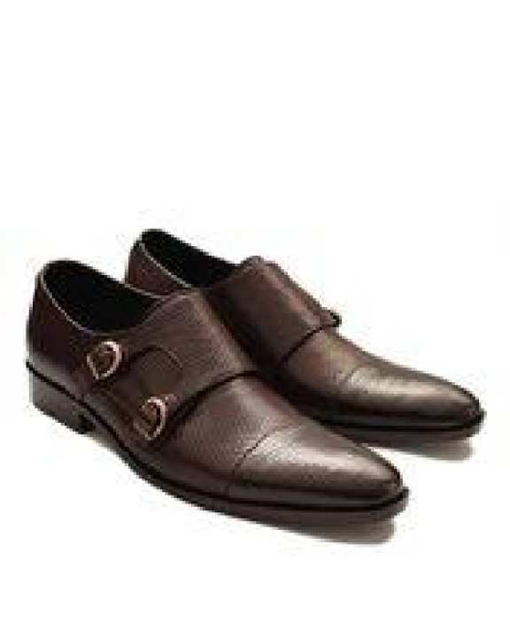 Dark Brown Leather Double Monk Style Formal Shoes C101149 - European. Size