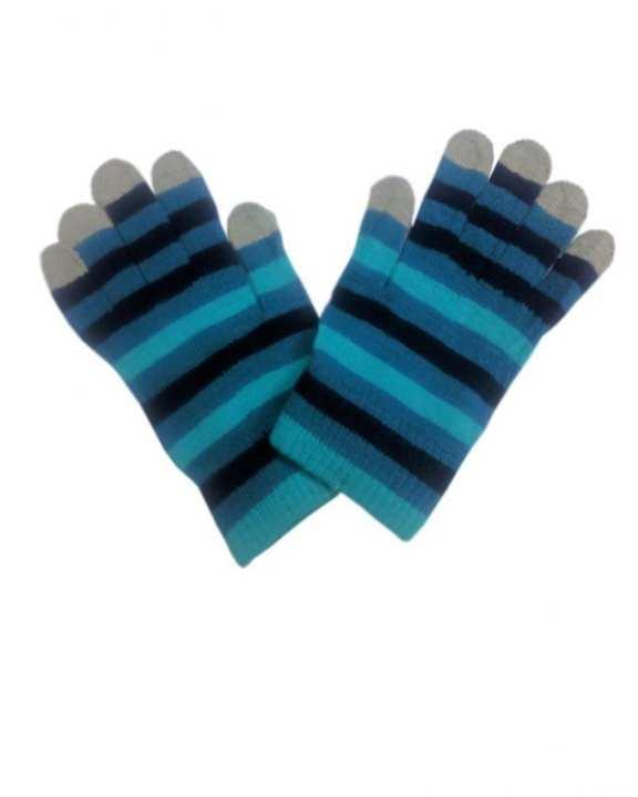 Blue Wool Gloves For Women - Smart Phone User