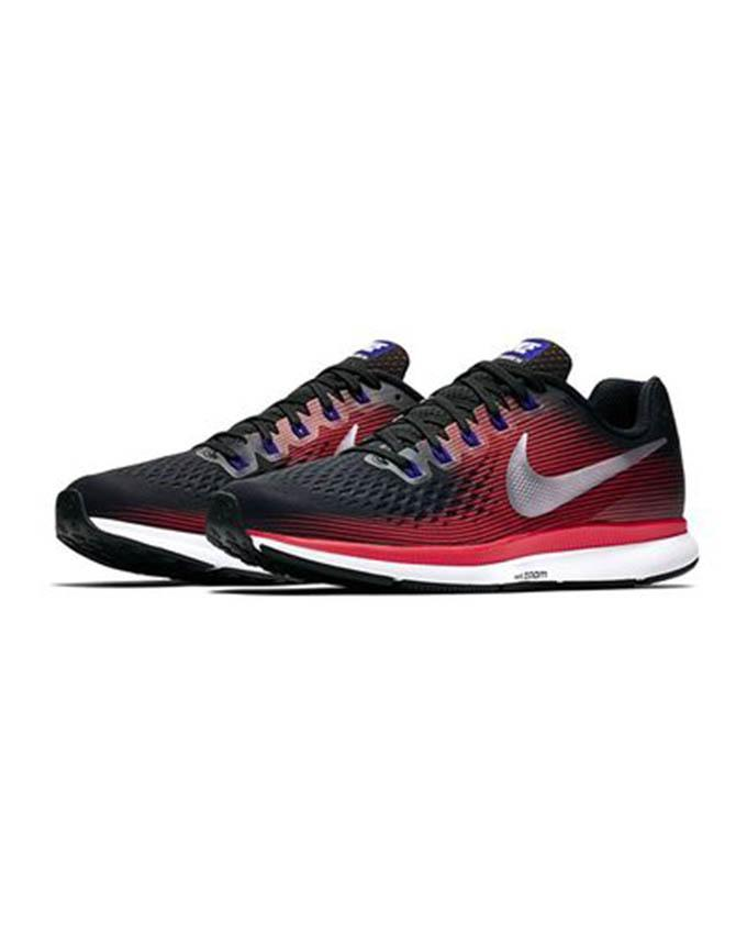6e835084d8f60b Black Mens Running Air Zoom Pegasus 34 - Black   Metallic Silver-Bright  Crimson