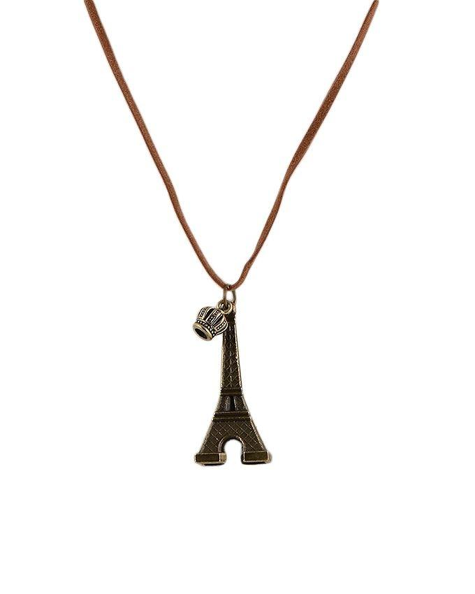 Bronze Eiffel Tower Necklace With Leather Cord