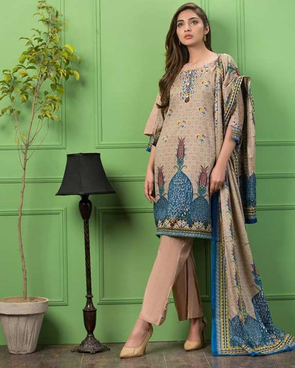 Skin Printed 3Pcs- Unstitched  Lawn For Women