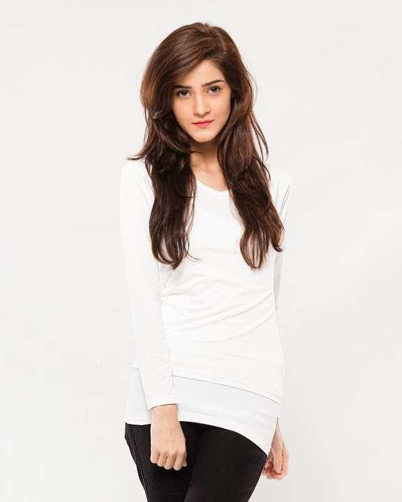 White Cotton V-neck Slim Basic Long Sleeve T Shirt for Girls & Women