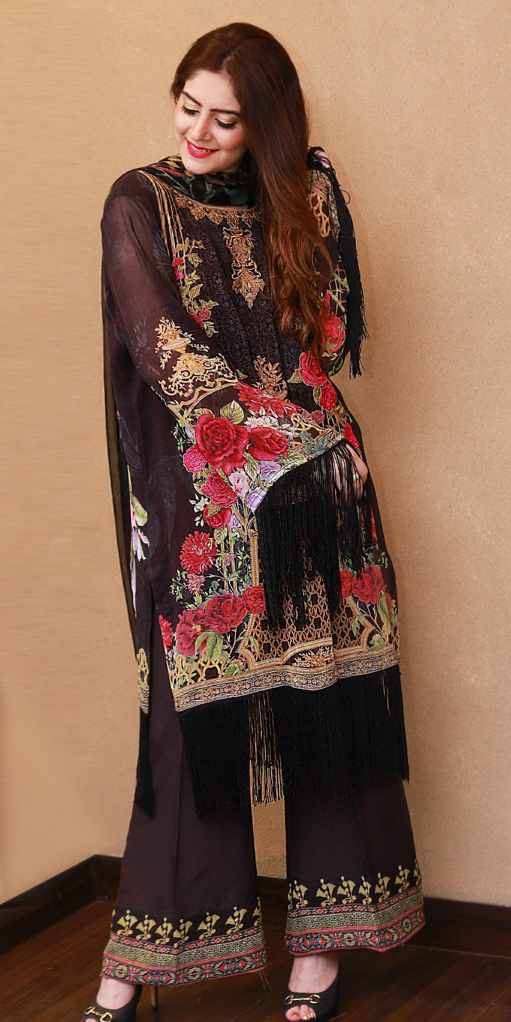 5aab72b633 Alif - Georgette Embroidered Chiffon 005 3pc- UnStitched Suit For Women