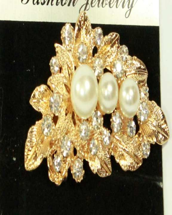 Golden Brooch With Stones and Pearl Shape beads