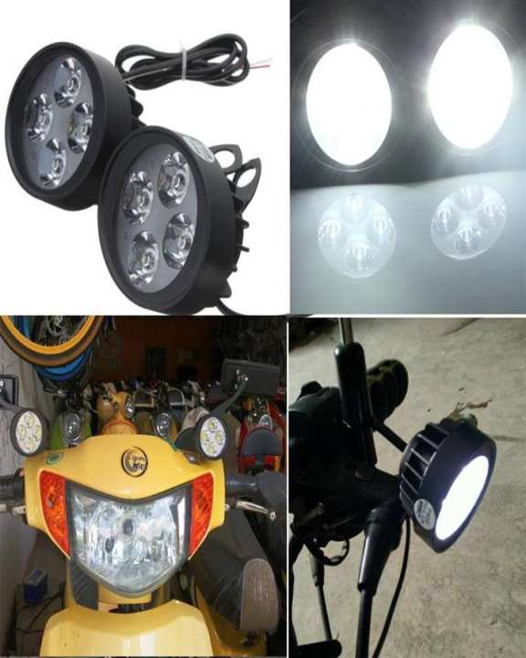 2 x 12V Universal Motorcycle Motorbike 4 LED Headlight / Fog Light