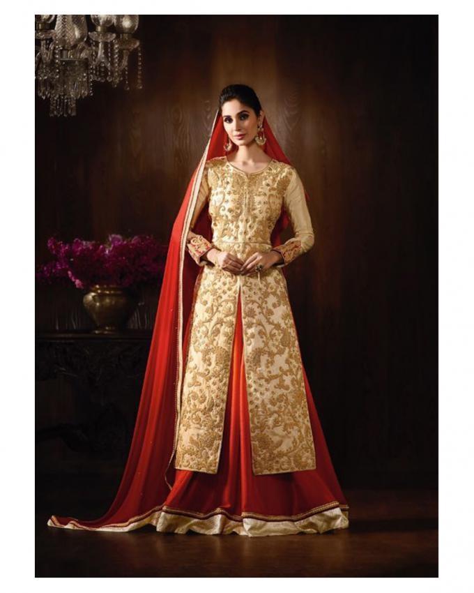 Riveting Cream & Red Raw Silk Lehenga Style Suit - 8063