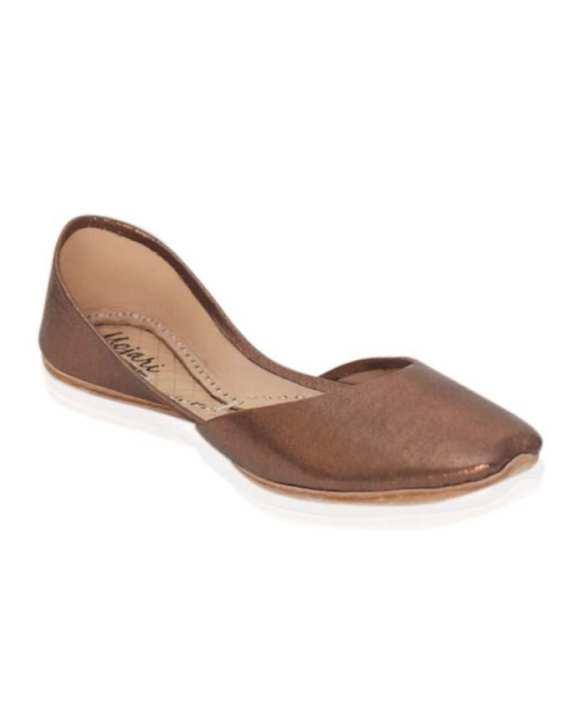 Mojari - Copper Metallic Leather Khussa for Women