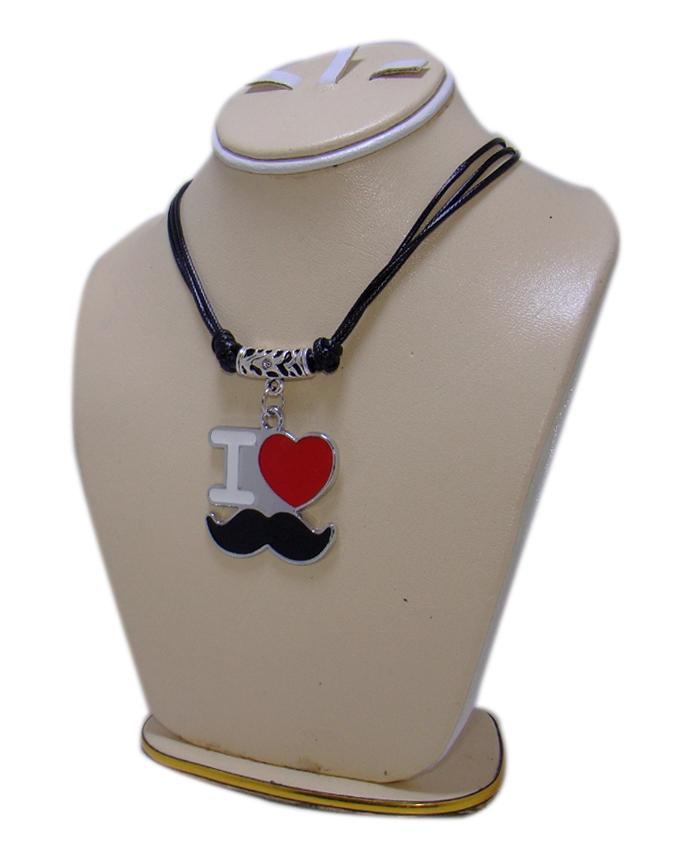 Black Metal I Love Mustache Pendant