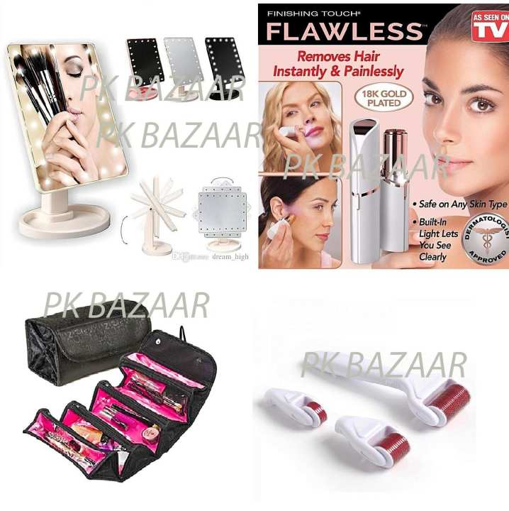 Bridal Pack Of 4 – Led Makeup 360 Mirror, Derma Roller 4 In 1, Flawless Painless Hair Remover & Roll N Go - Cosmetic Bag