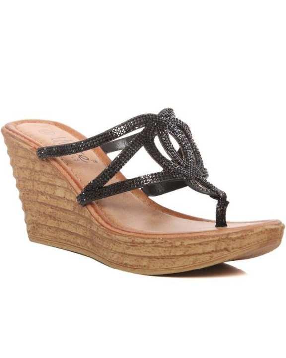 "Black "" Mojorea"" Open Toe Decorated Flat Wedge L29376"