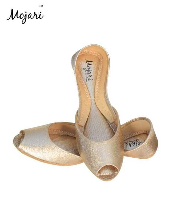 Mojari - Fawn Leather Metallic Round Toe Khussa For Women SS-178