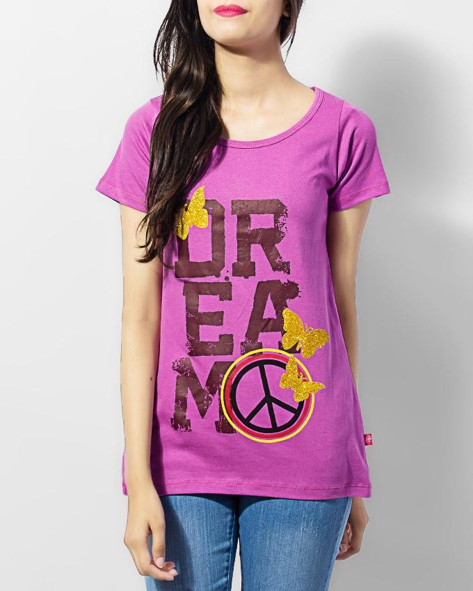 Light Purple Cotton Printed T-shirt
