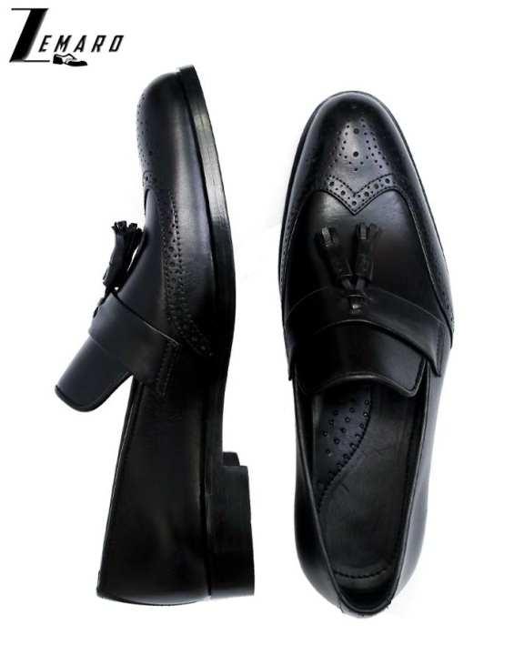 Black Tassels Slip-On Leather Shoes For Men - Zemaro -1006