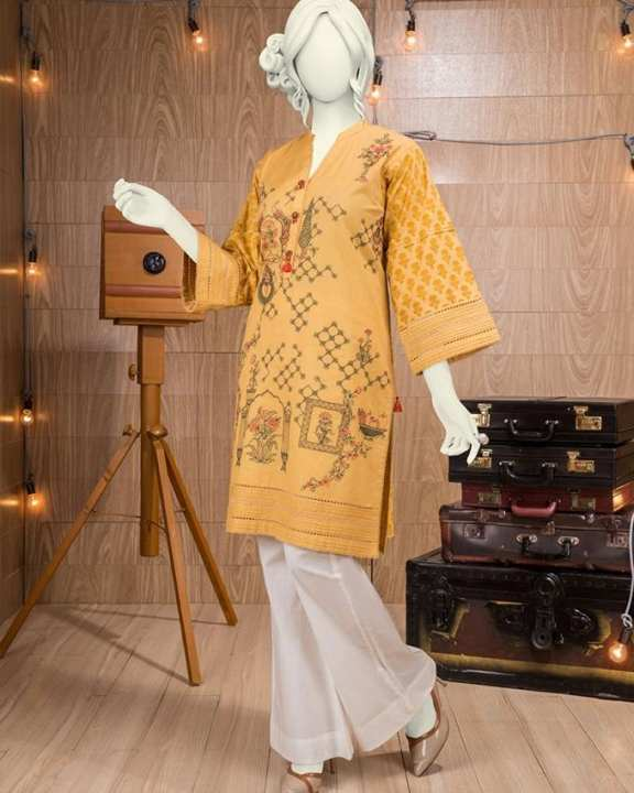 Mustard Cambric Kurti For Women