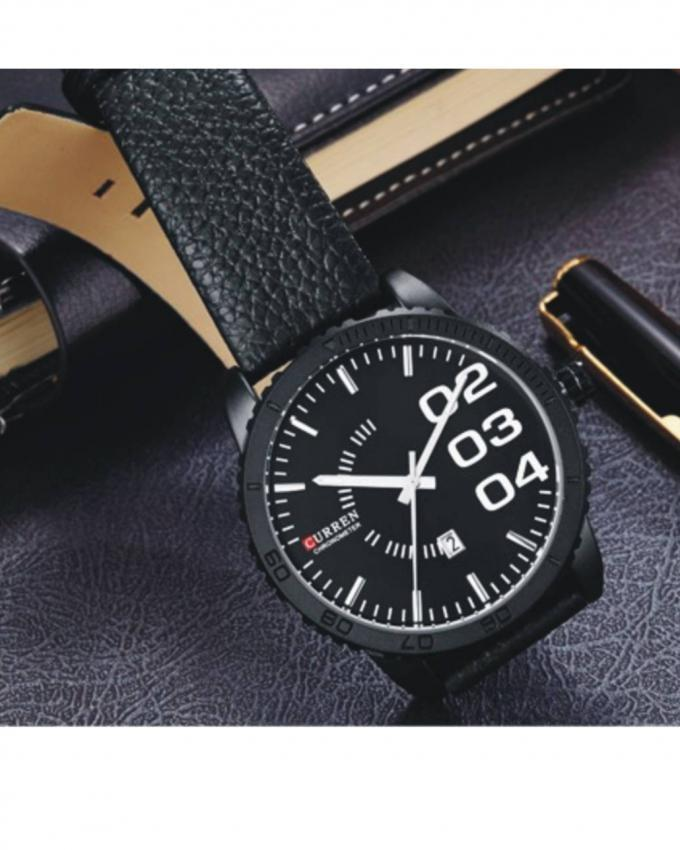Black Leather Analog Watch for Men - 8125