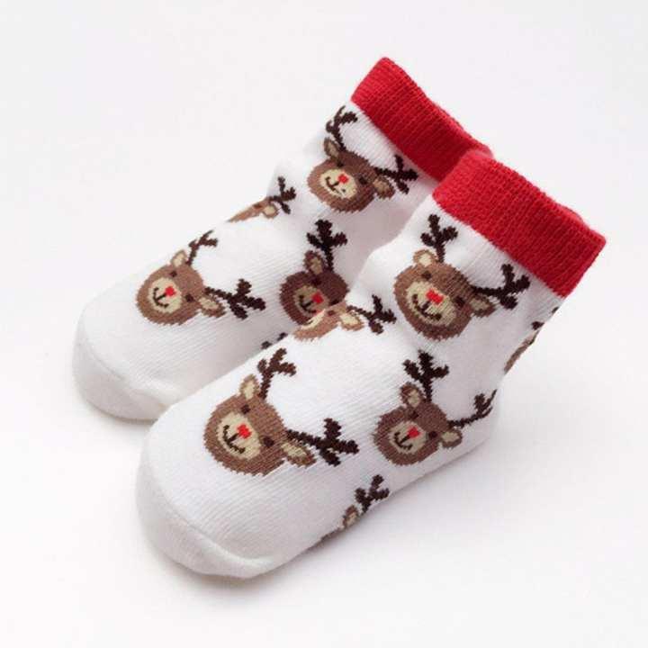 1 Pair Winter Baby Cotton Socks Kids Elk Children Christmas Ankle White 0-12M