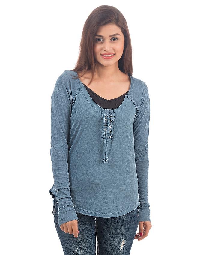 Blue Cotton T-Shirt For Women