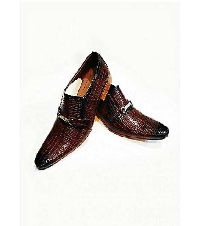 Brown Patterned Design Formal Shoes For Men