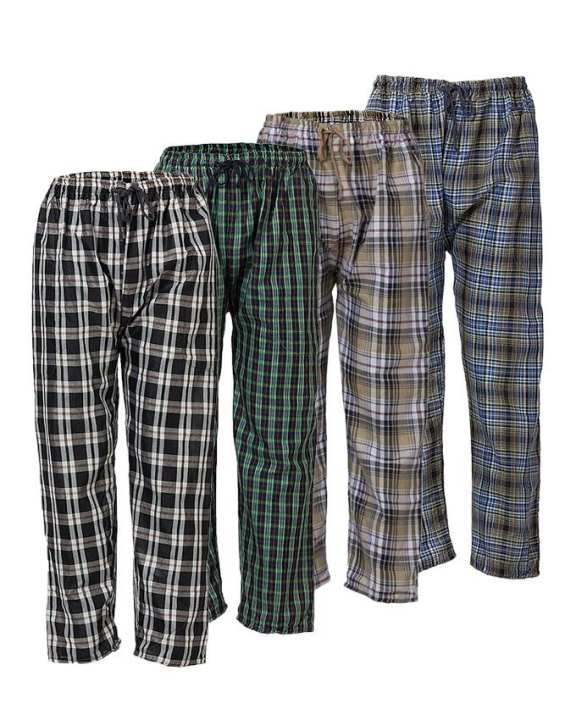Pack of 4 - Check Pajamas for Men - Multi Color