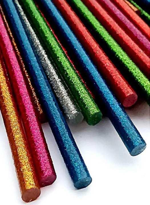 12 (11mm thick) Hot Glue Gun Glitter Sticks - Multicolour