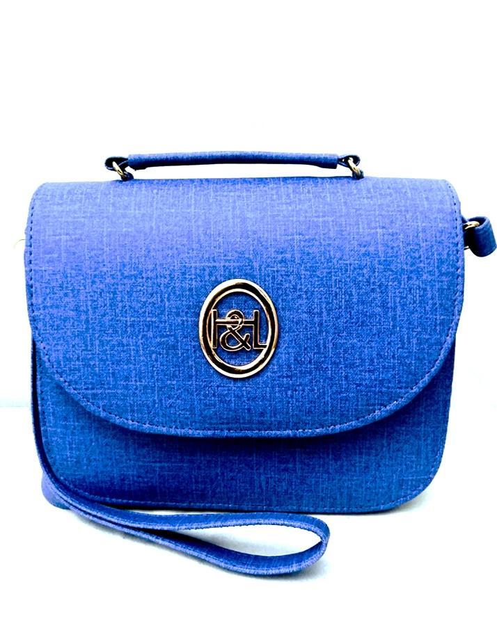 Blue Leather Rexine Cross Body Bag
