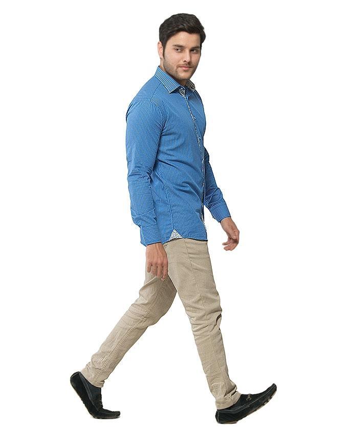ACLIPSE - White & Blue Striped Cotton Shirt for Men - FS16054