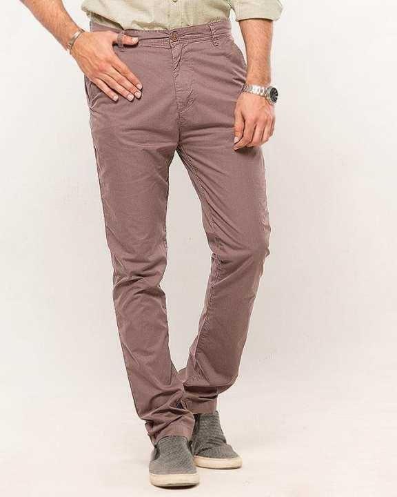 Warm Grey-Cotton Men'S Chino-Slim Fit