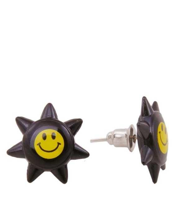Black Plastic Star Design Earrings for Girls - AC-001