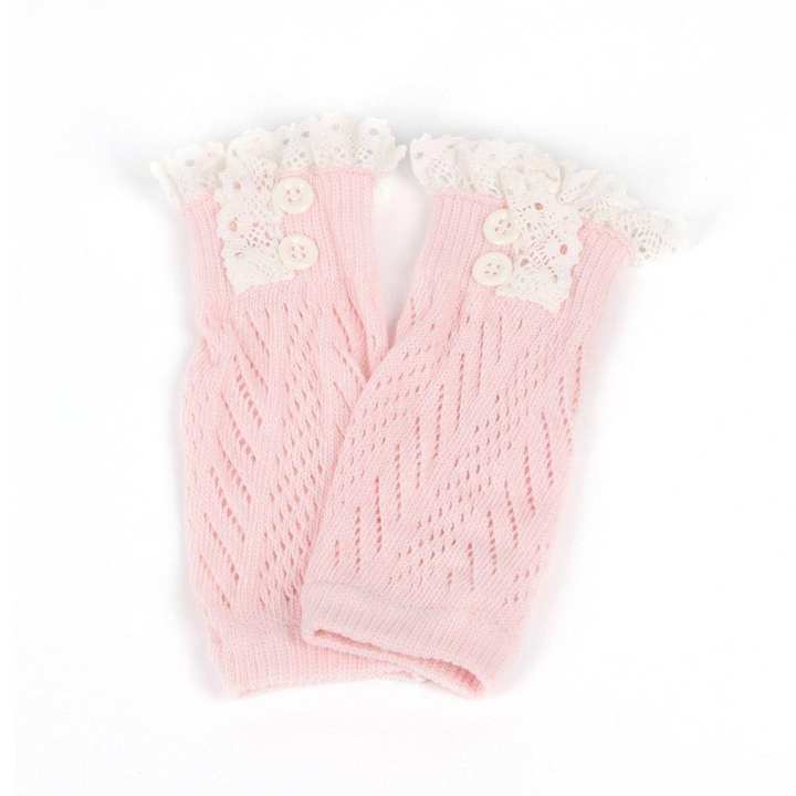 Comfortable Baby Girl Crochet Knitted Lace Boot Cuffs Toppers Leg Warmer Socks light pink
