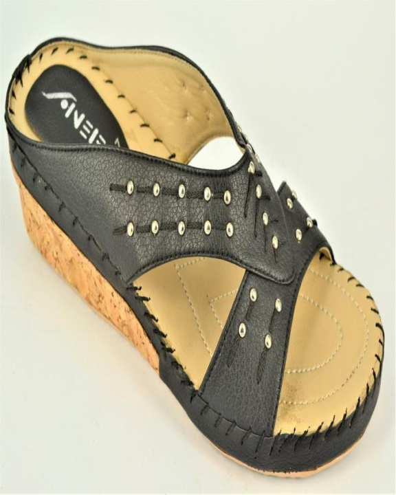Black Rexine And PU Sole Slippers for Women