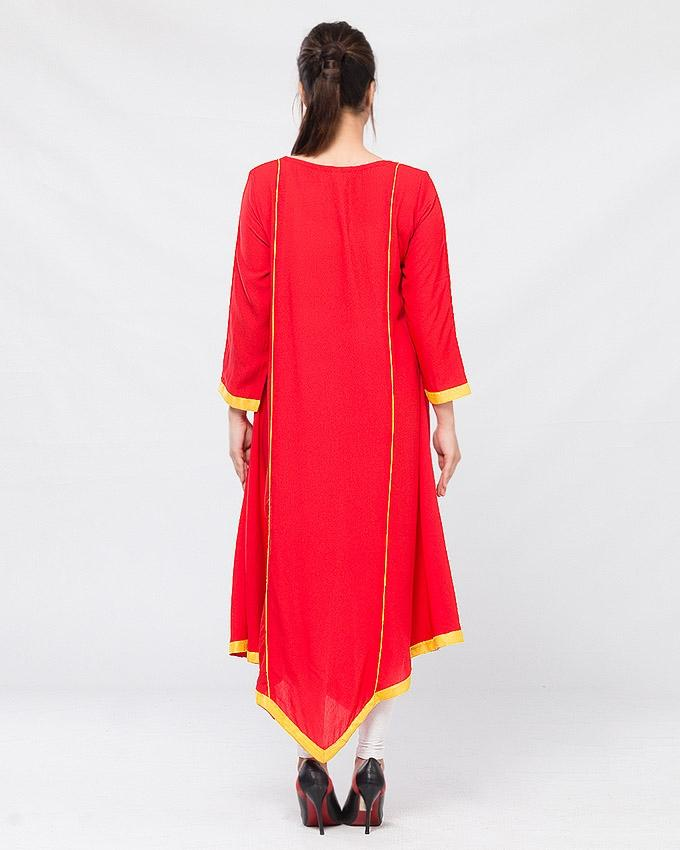 Red Lawn Embroidered Kurta for Women
