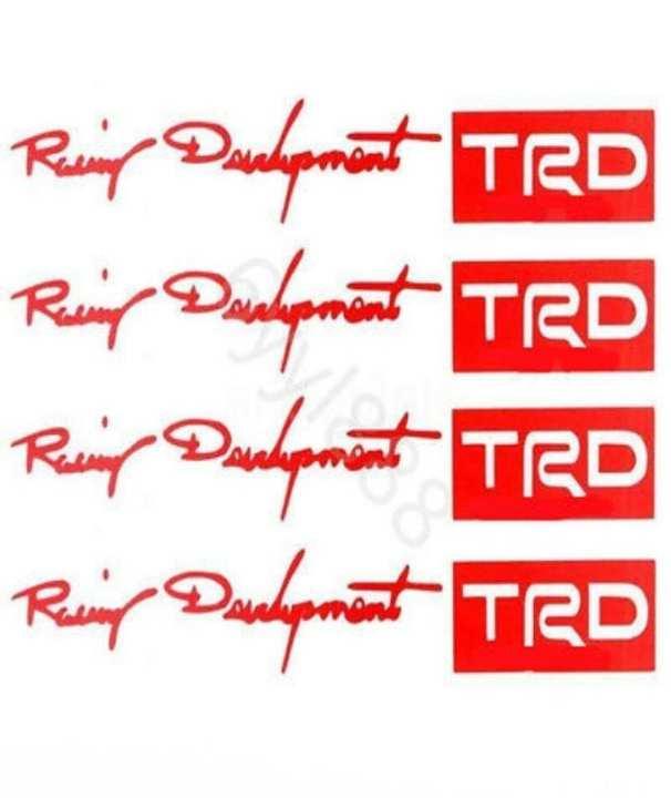 4Pcs/Set Car-Styling Trd Logo Door Handle Stickers Red