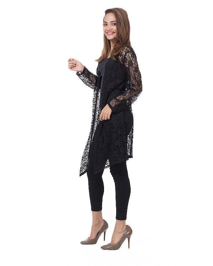 Black Cotton & Net Shrug For Women