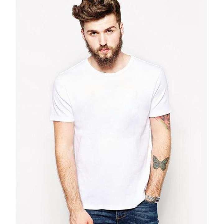 White Cotton Round Neck Plain Tshirt For Men