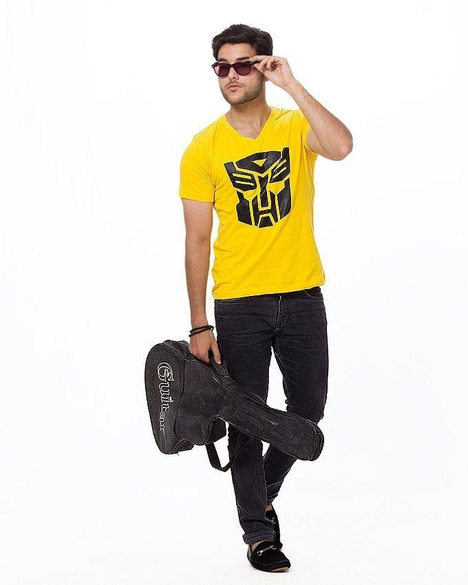Yellow Cotton Printed T-Shirt For Men