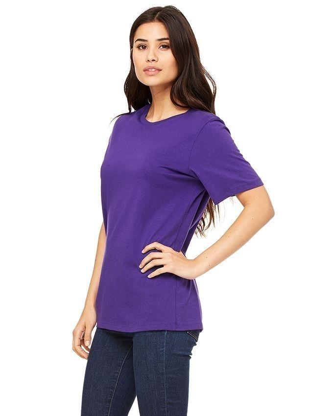 Purple Cotton Plain Half Sleeve T-Shirt for Women